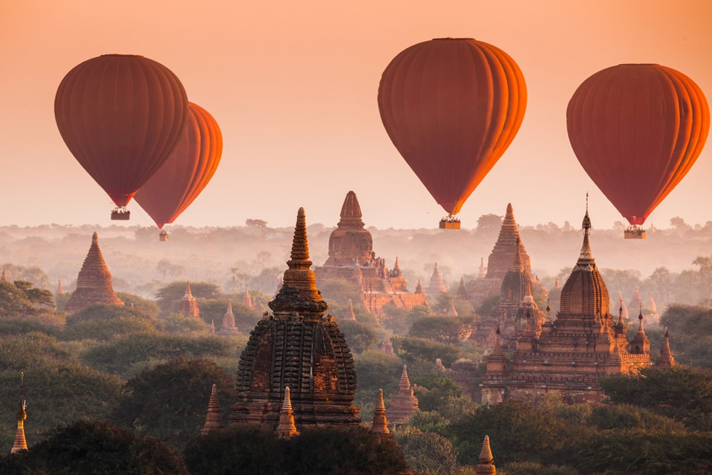 Balloon over ancient temples in Bagan, Myanmar
